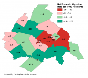 Map of Net Domestic Migration Rates By Jurisdiction in the Washington Region, 2015-2016