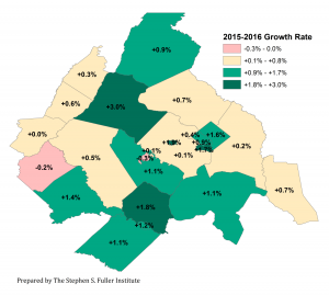 Map of Population Growth By Jurisdiction in the Washington Region, 2015-2016